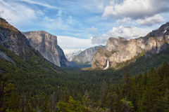 Valley and waterfall in yosemite national park Royalty Free Stock Photography