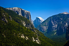Valley of yosemite park seen from the entrance with view to famo Stock Image