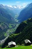 Valley of Zermatt. Into the nice valley of Zermatt in Switzerland stock photography