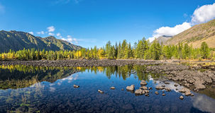 Valley Zhombolok river in autumn finery. Siberia Stock Photo