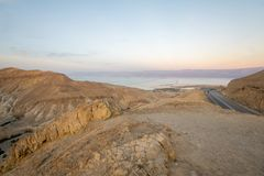 Valley of Zohar, and Dead Sea salt evaporation ponds Royalty Free Stock Images