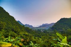 The Valleys and mountains in Cat Ba Island royalty free stock photo
