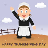 Vallfärda det lyckliga tacksägelsekortet för kvinnan Arkivfoton