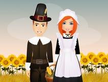 Vallfärda par i tacksägelsedag stock illustrationer