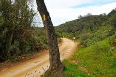 Vallfärdar i Mozarabicen Camino de Santiago, Cerro Muriano, Cordoba, Spanien Royaltyfri Bild
