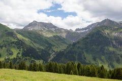 Valli verdi e picchi di alta montagna Fotografie Stock