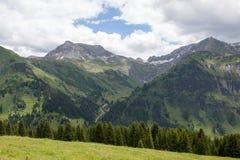 Valli verdi e picchi di alta montagna Immagini Stock Libere da Diritti