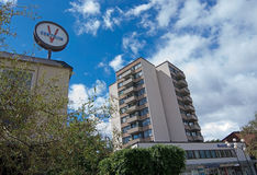 Vallingby clock and high-rise Royalty Free Stock Photos