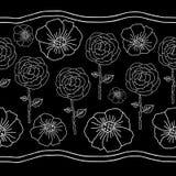 Vallmo- och roslinje illustration på svart bakgrund Modell-Monochromatic blommor för sömlös repetition stock illustrationer