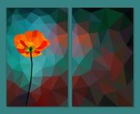 Vallmo på polygonal turkosbakgrund set vektor för abstrakt bakgrundsbaner Royaltyfri Fotografi