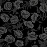 Vallmo Sömlös bakgrund för vektor i tappningstil Växtmodell Botanisk teckning Svart bakgrund stock illustrationer