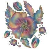 Vallmoblomma av violetta och blåa toner på vit bakgrund royaltyfri illustrationer