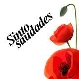 Vallmovykort med en Portugal text mönsan blom- blommor för bakgrundsdesign seamless stiltappning vektor illustrationer