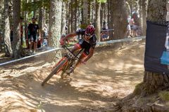 JOSE GERARDO ULLOA AREVALO MEX in the MERCEDES-BENZ UCI MTB WORLD CUP 2019 - XCO Vallnord, Andorra on July 2019 royalty free stock photo