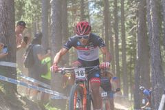 JOSE GERARDO ULLOA MEX in the MERCEDES-BENZ UCI MTB WORLD CUP 2019 - XCO Vallnord, Andorra on July 2019 royalty free stock images