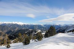 VallNord ski slopes, the Pal sector, the Principality of Andorra, the eastern Pyrenees, Europe. VallNord ski slopes against the background of the mountains of Stock Image