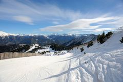 VallNord ski slopes, the Pal sector, the Principality of Andorra, the eastern Pyrenees, Europe. VallNord ski slopes against the background of the mountains of Stock Photos