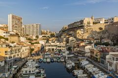 MARSEILLE, FRANCE - OCTOBER 02, 2017: The Vallon des Auffes - a little traditional fishing haven royalty free stock images