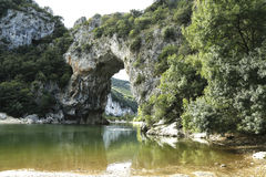 Vallon Pont d'Arc, a natural Arch in the Ardeche, France Royalty Free Stock Images