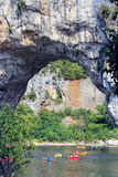 Vallon Pont d'Arc, Natural Rock bridge over the River in the Ard Stock Photo