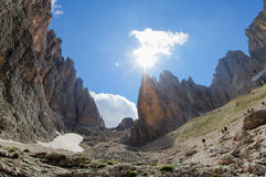 Vallone Sassolungo, Val加迪纳HDR 库存图片