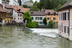 VALLORBE,/ EUROPE - SEPTEMBER 14: Orbe River flowing through Val. Lorbe in the district Grandes Forges of Switzerland on September 14, 2015 royalty free stock photography