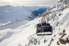 The Valluga's cable car cabin, St. Anton, Austria Stock Photos