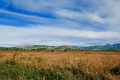 Vally with crop fields and cloudy blue sky Royalty Free Stock Photos