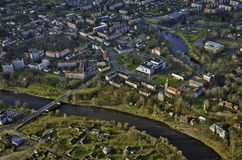 Valmiera town. Aerial view from above Royalty Free Stock Images