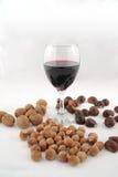 Valnötter, hasselnötter, kastanjer och exponeringsglas av vin Royaltyfri Bild