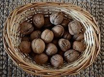Valnötter i en vide- korg Royaltyfri Bild