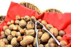 Valnötter och hasselnötter med en nötknäppare överst Fotografering för Bildbyråer
