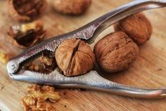 Valnötter och nötknäppare på träbräde arkivfoton