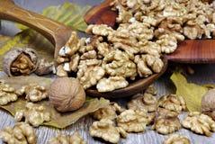 Valnötter på en träbakgrund, i en platta en användbar näringsrik proteinprodukt royaltyfria foton