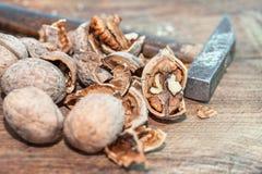Valnötter på trä bordlägger Royaltyfri Bild