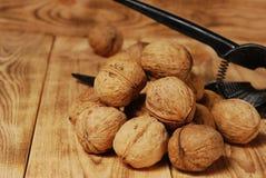Valnötter på träbakgrunden Royaltyfria Foton