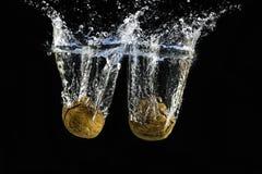 Valnötter plaskar Arkivfoto