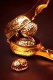 Valnötter som är guld- på en svart bakgrund Royaltyfria Bilder