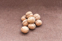 Valnötter som är nära upp på burlapbakgrunden arkivfoto