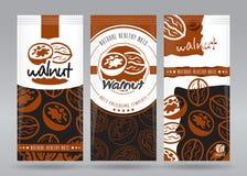 Valnötter som förpackar uppsättningen stock illustrationer