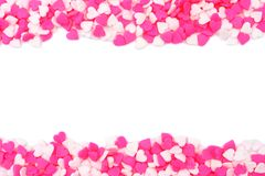 Valnetines Day heart candy sprinkles double border over white Royalty Free Stock Photo