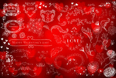 Valntines day design elements. Various hand - drawn Valentines day design elements - hearts, frames, flowers, dividers, birds on red bokeh background Stock Photo