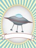 Óvalo brillante de la escritura de la etiqueta del producto del UFO Fotos de archivo libres de regalías