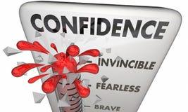 Valor confiado valiente del termómetro de la confianza stock de ilustración