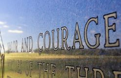 Valor And Courage Monument Gettysburg Battlefield Pennsylvania. Words Valor and Courage on monument in Gettysburg Battlefield, Gettysburg Pennsylvania with sky/ Royalty Free Stock Photo