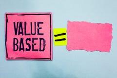 Valor da exibição da nota da escrita baseado Foto do negócio apresentando considerando o valor do produto em satisfazer o papel d imagens de stock royalty free