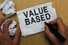 Valor da exibição da nota da escrita baseado Foto do negócio que apresenta considerando o valor do produto em satisfazer o homem  fotografia de stock royalty free