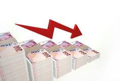 Valor de disminución de la lira turca en el fondo blanco Imagen de archivo libre de regalías
