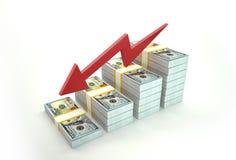 Valor de disminución del dólar Imagen de archivo libre de regalías