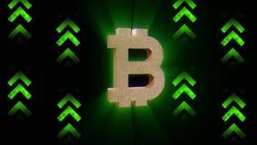 Valor del aumento de Bitcoin, tendencia crypto de la moneda ilustración del vector